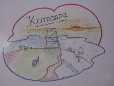 Komossas logo är skapad av konstnären och bybon Tuija Engström.