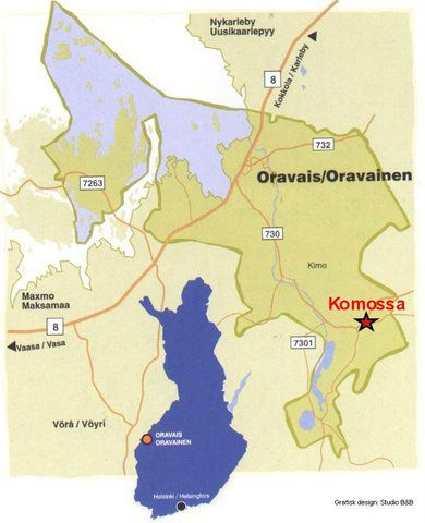 Här hittar du Komossa på kartan. Illustration ur Komossaboken.